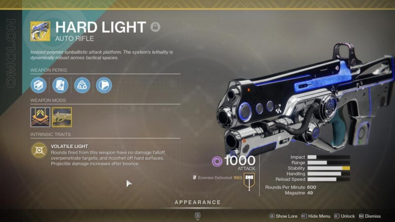 Destiny 2 Hard Light Catalyst