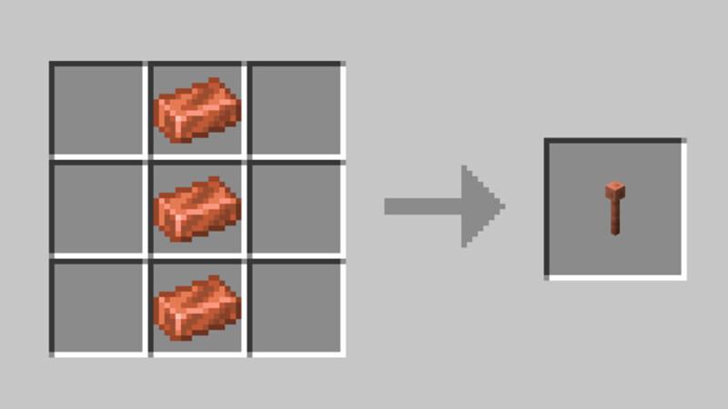 Minecraft Lightning Rod recipe