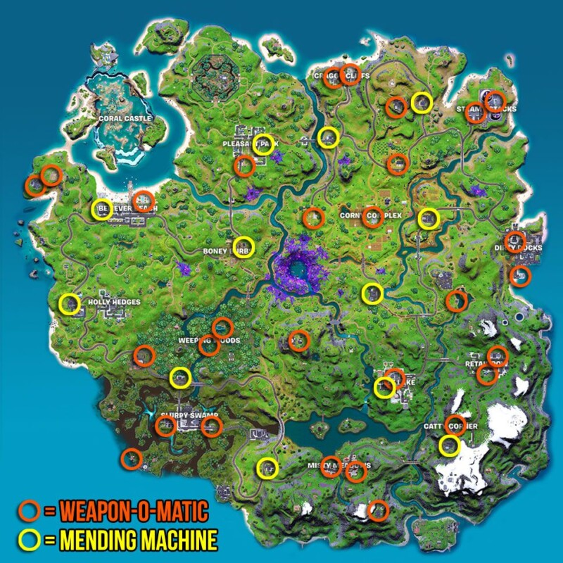 Weapon-O-Matic and Mending Machine location